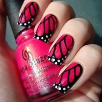 Черно розовый маникюр