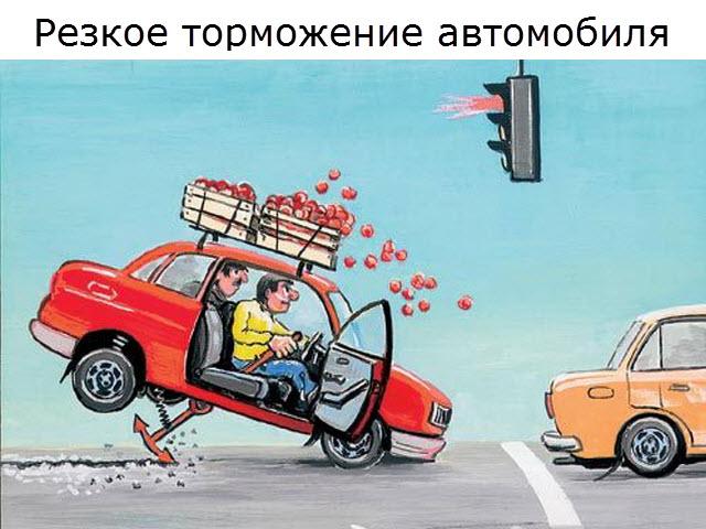 Резкое торможение автомобиля