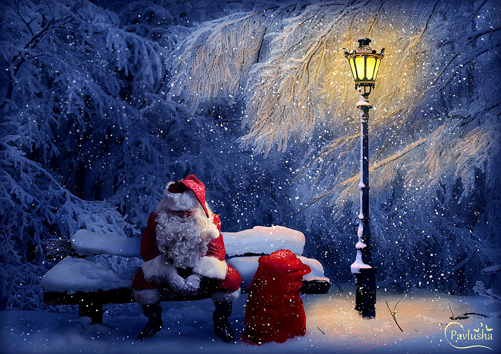 Создаём в фотошопе коллаж Дед Мороз в заботах