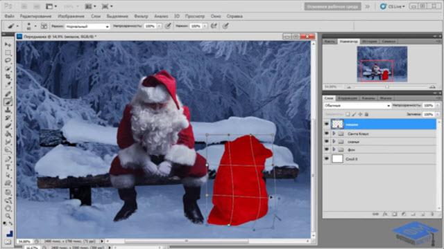 Коллаж Дед Мороз в заботах