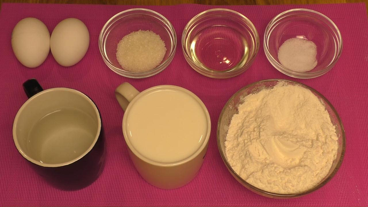 Заварные блинчики на молоке с дырочками - ингредиенты